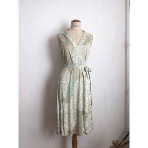 Eli tahari wrap dress tropical print sleeveless Lg